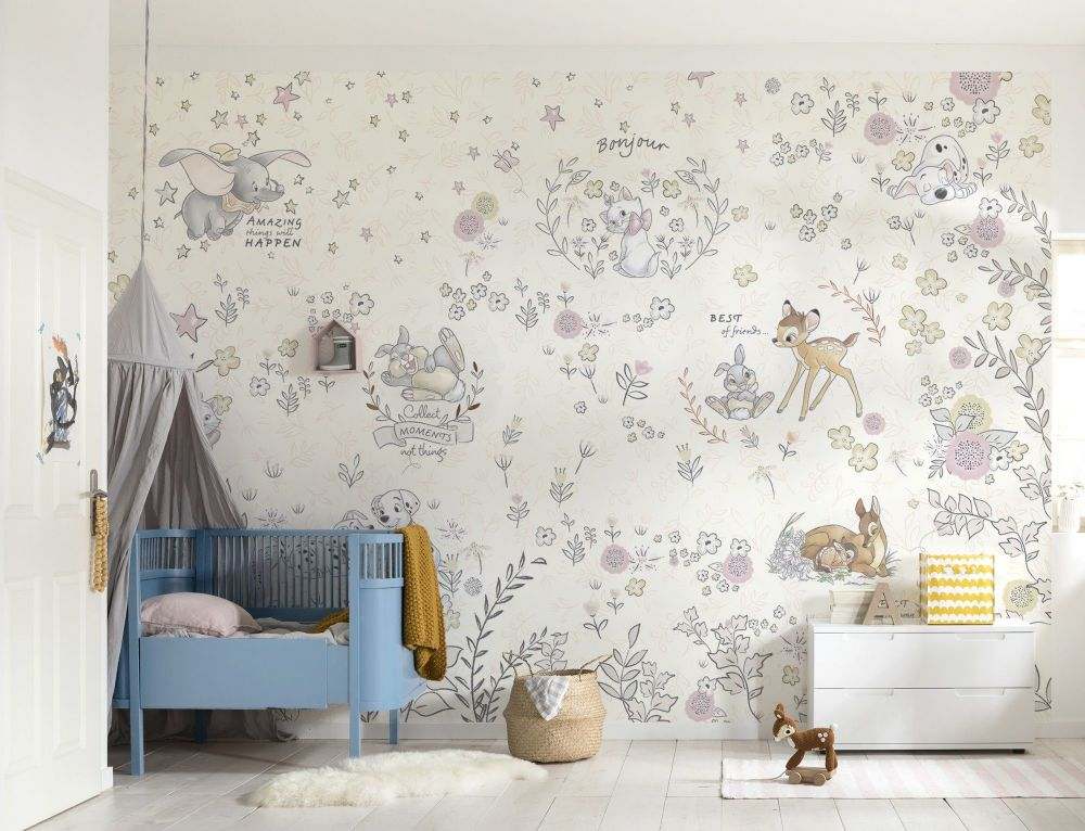 Wandtapete Kinderzimmer Bambi & Dumbo Nursery Wallpaper Mural | Buy It Now
